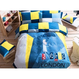 Creative Man with Umbrella Pattern Kids Cotton 4-Piece Duvet Cover Sets