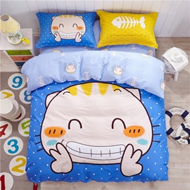 Smile Cat Pattern Kids Cotton 4-Piece Duvet Cover Sets
