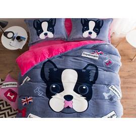 Likable Puppy Print Soft Flannel 4-Piece Duvet Cover Sets