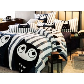 Excellent Owl and Stripe Print 4-Piece Flannel Duvet Cover Sets