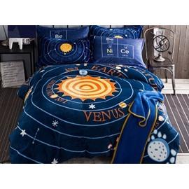 Amazing Solar System Print 4-Piece Flannel Duvet Cover Sets