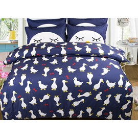 Cute Little Ducks Pattern Kids 4-Piece Duvet Cover Set
