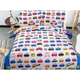 Colorful Toy Cars Pattern Kids 4-Piece Duvet Cover Set