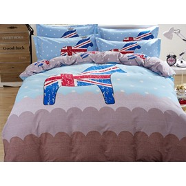 Cute Cartoon Horse Pattern Cotton 4-Piece Duvet Cover Set