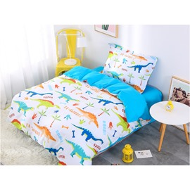 Cartoon Dinosaur 3 Pieces Lake Blue Cotton Bedding Sets/Duvet Covers