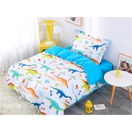 Cartoon Dinosaur 3 Pieces Lake Blue Cotton Bedding Sets/Duvet Covers