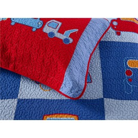 Truck Patchwork Pattern 2 Pieces Blue Cotton Duvet Cover Sets