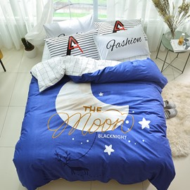 Cotton 4-Piece Cartoon Moon Pattern Kids Duvet Covers/Bedding Sets
