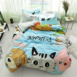 Cute Cartoon Animals Pattern Cotton 4-Piece Kids Duvet Covers/Bedding Sets