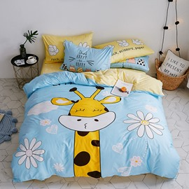 Cute Cotton Cartoon Giraffe Pattern 4-Piece Kids Duvet Covers/Bedding Sets