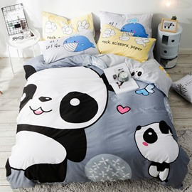 Cartoon Panda Pattern Cotton 4-Piece Kids Duvet Covers/Bedding Sets