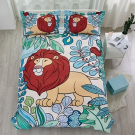 Cotton Material Hand Painted Lion Pattern 4-Pieces Kids Bedding Sets/Duvet Cover