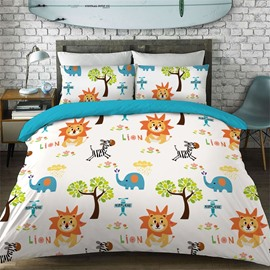 Cartoon Lion Pattern Cotton Material 4-Pieces Kids Bedding Sets/Duvet Cover