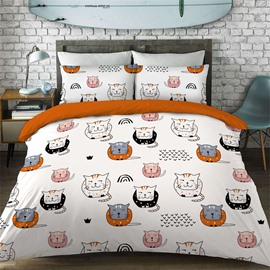 Cute Cats Pattern Cotton Material 4-Pieces Kids Bedding Sets/Duvet Cover