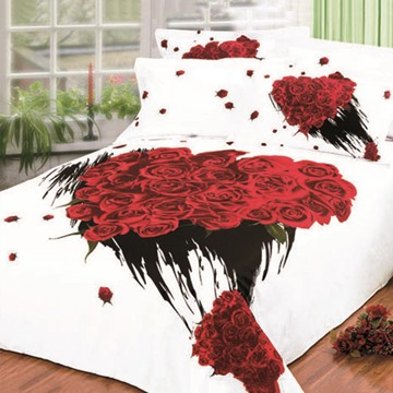 Fantastic Bunch Rose Printed 4 Piece King Bed Sheets