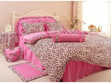 Leopard Print Cotton Princess Style Pink 4-Piece Duvet Covers/Bedding Sets