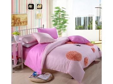 New Arrival Lovely Pink Color Flower Applique Design 6 Piece Bedding Sets