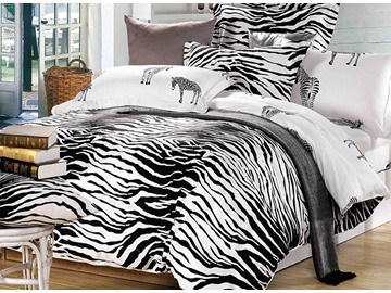 Zebra Soft Cotton Simple Style 4-Piece Duvet Covers/Bedding Sets