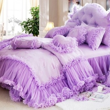 Cinderella Total Lace Trim Pure Color Cotton Duvet 4 Pieces Cover Sets