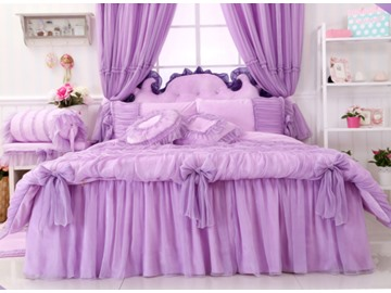 Bowknot Lace Edging Princess Style Cotton 4-Piece Full Size Purple Bedding Sets
