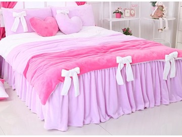 Lovely Contrast Color Worsted Flannel Bowtie 4-Piece Princess Duvet Cover Sets