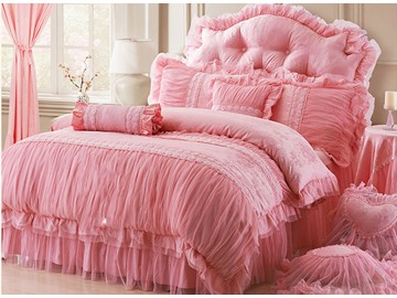 Cotton and Lace Princess 4-Piece Pink Duvet Covers/Bedding Sets