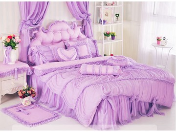 New Arrival Romantic Lace Wave Style 4-Piece Cotton Duvet Cover Sets
