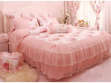 Top Quality Attractive Princess Pink Cotton 4-piece bedding sets