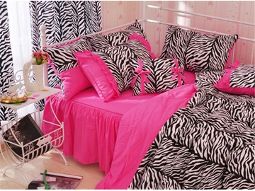 Zebra Stripe Pattern Cotton Full Size 4-Piece Pink Duvet Covers/Bedding Sets