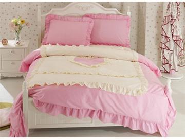 Heart Shape Cotton 4-Piece Pink Duvet Covers/Bedding Sets