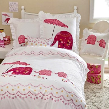 Pink Elephant with Umbrella 3-Piece Cotton Duvet Cover S\ets