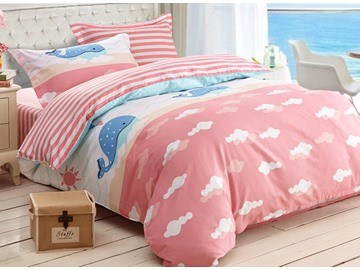 Blue Whale Print 3-Piece Cotton Duvet Cover Sets