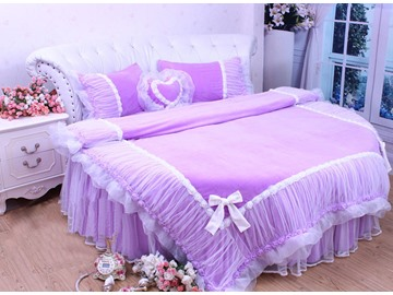 Lace and Flower Trimming Cotton Princess Full Size 4-Piece Duvet Covers/Bedding Sets