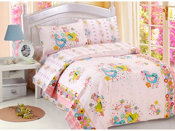 Unique Blue and Yellow Lark Birds Print 4-Piece Kids Duvet Cover Sets