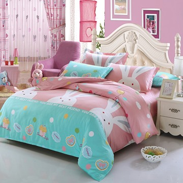 Big Rabbits Pattern Cotton 4-Piece Pink Kids Duvet Covers/Bedding Sets