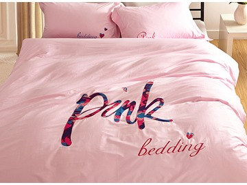 Kids Fashion Pink 4 Piece Organic Cotton Duvet Cover Sets