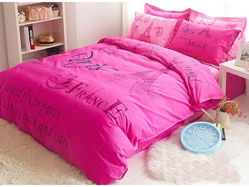 Pink and Romantic Paris Theme Cotton Kids Duvet Cover Set