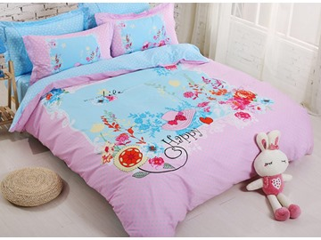 Fresh Flower Print Cotton Kids 4-Piece Duvet Cover Set