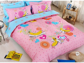 Pleasant Banana Vacation Kids 4-Piece Duvet Cover Set