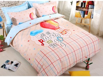 Plaid Pattern Air Balloon Print Kids Cotton 4-Piece Duvet Cover Set