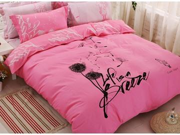Pink Dandelion Print 100% Cotton 4-Piece Duvet Cover Set