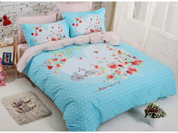 Bike and Flowres Print Kids Cotton 4-Piece Duvet Cover Set