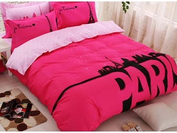 Glamorous Paris Print Cotton 4-Piece Duvet Cover Set