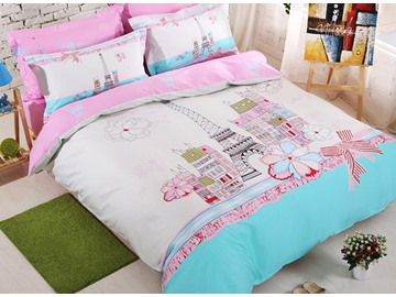 100% Cotton City Scene and Flower Print 4-Piece Duvet Cover Set