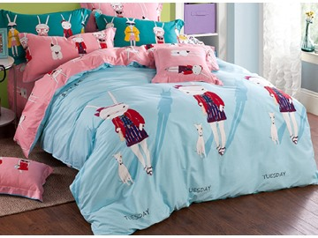 Light Blue Cute Rabbits Pattern Kids Organic Cotton Duvet Cover Set