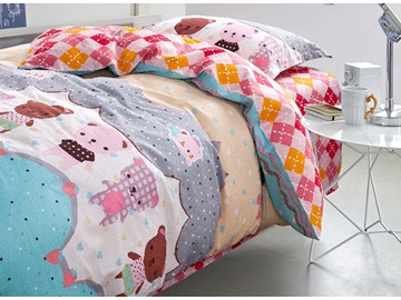 Cute Bears Kids 3-Piece 100% Cotton Duvet Cover Set