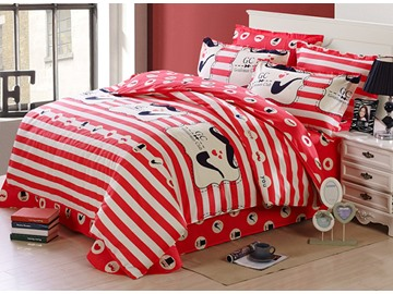 Vivid Red Stripes Pattern Soft Cotton Kids Duvet Cover Set