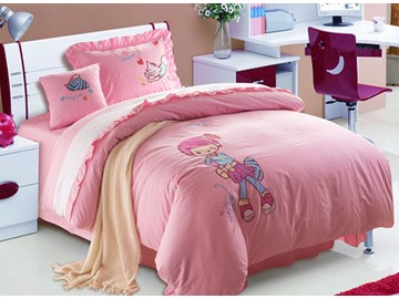 100% Cotton Lovely Sweet Girl Print Kids Duvet Cover Set