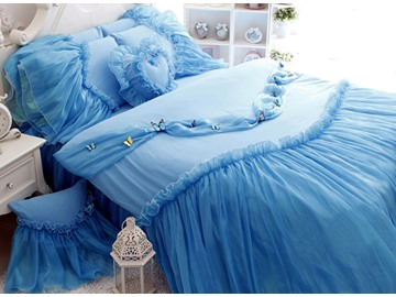Blue Cinderella Princess Style Girls 4-Piece Cotton Duvet Cover Set