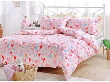 Lovely Pink Heart Shape Pattern Cotton Kids 4-Piece Duvet Cover Sets